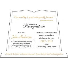 Teacher Recognition Awards Wording (#538-1)