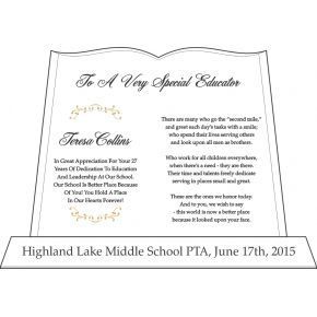 Teacher Recognition Plaque Quotes (#538-3)