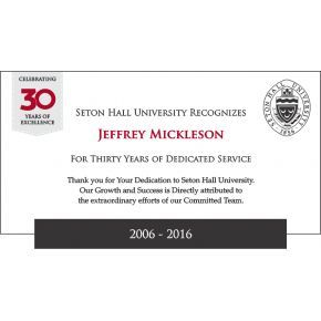 30 years Work Anniversary Certificate plaque (#576-3)