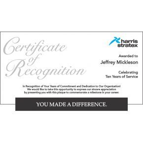 Long Service Certificate of Recognition Plaque 5764 – Appreciation Certificates Wording