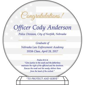 Law Enforcement Graduation Gift Plaque (#586-1)