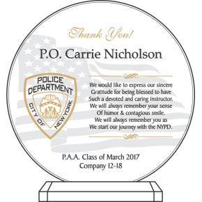 Graduation appreciation plaque for police academy instructor (#586-3)