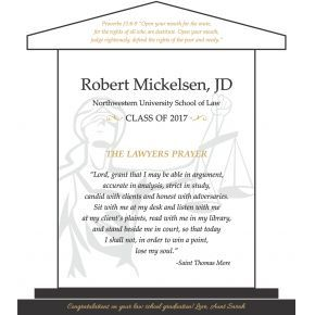 Lawyer's Prayer Graduation Gift Plaque (#596-3)