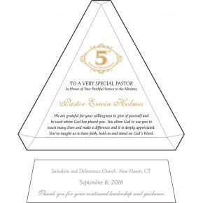 5th Pastoral Anniversary Gift Plaque (#617-1)