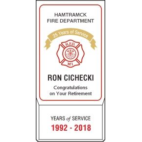 Firefighter Retirement Service Award Plaque