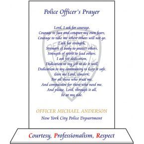 Police Officer's Prayer Plaque with NYPD motto (#482-2)