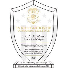 ICE Officer Recognition Plaque (#510-1)