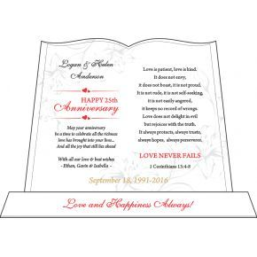 Love Never Fails Wedding Anniversary Plaque (#142-2)