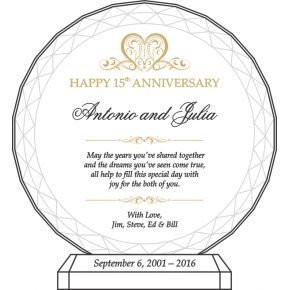 15th Anniversary Plaque for Couple (#162-4)
